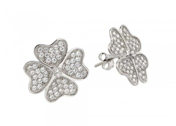 Sterling Silver Rhodium Plated Heart Clover Clear CZ Stud Earring ste00912