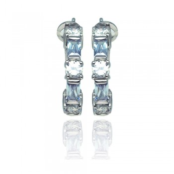 Sterling Silver Rhodium Plated Blue & Clear Rectangle & Round Circle CZ Stud Earring ste00932