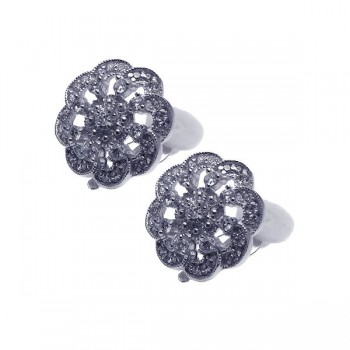 Sterling Silver Rhodium Plated Flower Cluster CZ Stud Earring ste00933