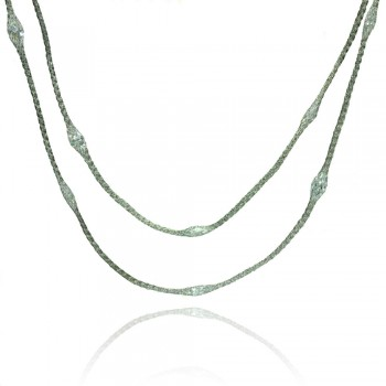 Sterling Silver Rhodium Plated Mystical Chain Clear CZ Italian Necklace - ITN00051RH