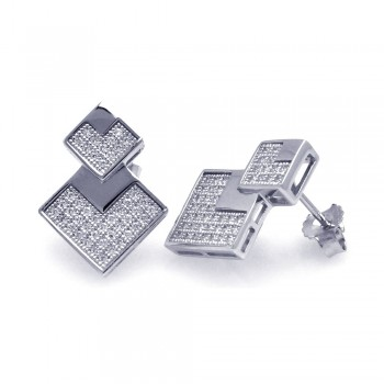 Sterling Silver Rhodium Plated Micro Pave Clear Graduate Square CZ Stud Earring ace00036