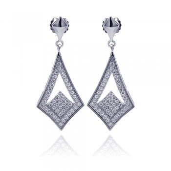 Sterling Silver Rhodium Plated Micro Pave Clear Open Sharp Marqui CZ Dangling Stud Earring ace00039