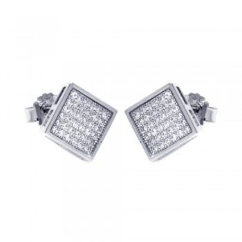 Sterling Silver Rhodium Plated Micro Pave Clear Square CZ Stud Earring ace00041