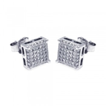 Sterling Silver Rhodium Plated Micro Pave Clear Square CZ Stud Earring ace00045
