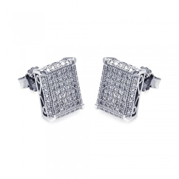 Sterling Silver Rhodium Plated Micro Pave Clear Square CZ Stud Earring ace00048