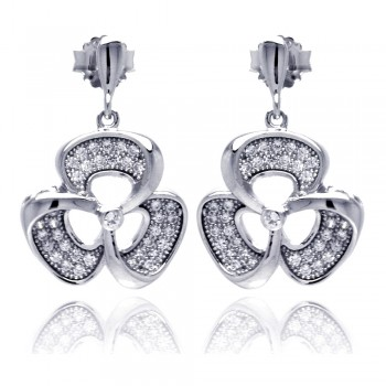 Sterling Silver Rhodium Plated Micro Pave Clear Flower CZ Dangling Stud Earring ace00049