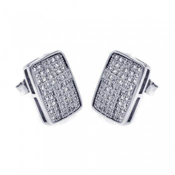 Sterling Silver Rhodium Plated Micro Pave Clear Rectangle CZ Stud Earring ace00051