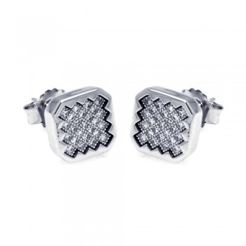 Sterling Silver Rhodium Plated Micro Pave Clear Sun Square CZ Stud Earring ace00053