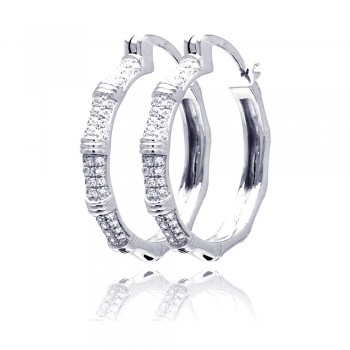 Sterling Silver Rhodium Plated Micro Pave Clear CZ Hoop Earring ace00062