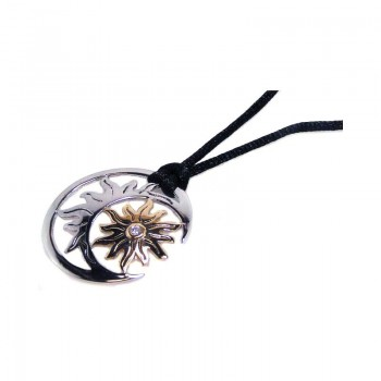 Sterling Silver Rhodium & Gold Plated Sun Moon Clear CZ Black Cord Pendant Necklace bgn00004