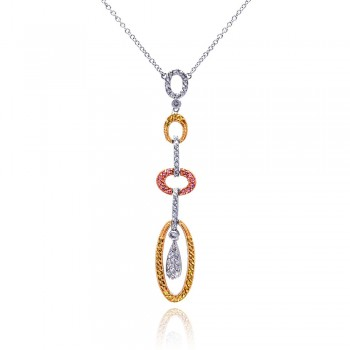 Sterling Silver RhodiumGold& Rose Gold Plated Multi Open Oval Multi Colored CZ Pendant Necklace bgn00010
