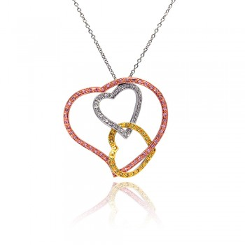 Sterling Silver RhodiumGold& Rose Gold Plated Open Layered Heart Multi Colored CZ Pendant Necklace bgn00011
