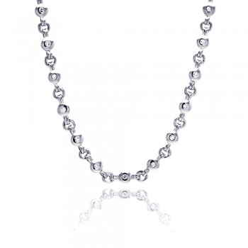 Sterling Silver Rhodium Plated Clear Round CZ Link Necklace bgn00017