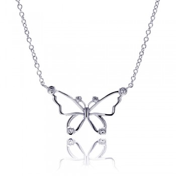 Sterling Silver Rhodium Plated Open Butterfly Outline Clear CZ Pendant Necklace bgn00042