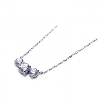 Sterling Silver Rhodium Plated 3 Clear CZ Pendant Necklace bgn00044