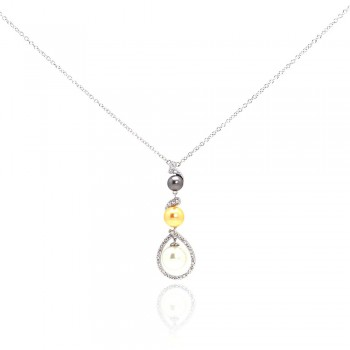 Sterling Silver Rhodium Plated Multi Colored Pearl Clear CZ Drop Pendant Necklace bgn00050