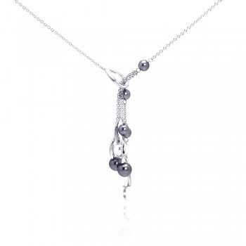 Sterling Silver Rhodium Plated Multi Pearl Drop Pendant Necklace bgn00051