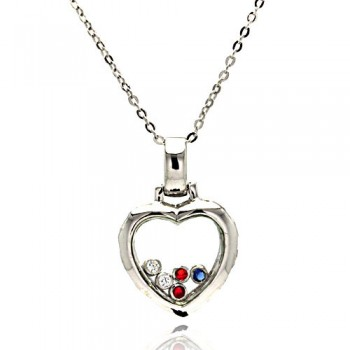 Sterling Silver Floating Multi Color CZ Rhodium Plated Heart Pendant Necklace bgp00005