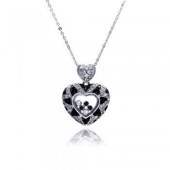 Sterling Silver Floating Clear CZ Black Rhodium Plated Heart Pendant Necklace bgp00006