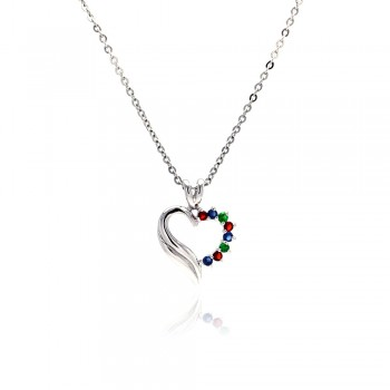 Sterling Silver Multi color CZ Rhodium Plated Heart Pendant Necklace bgp00016