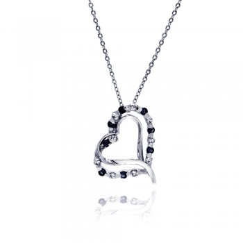 Sterling Silver Black and Clear CZ Rhodium Plated Double Heart Pendant Necklace bgp00020