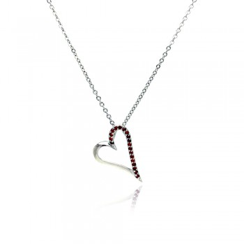 Sterling Silver Red CZ Rhodium Plated Heart Pendant Necklace bgp00023