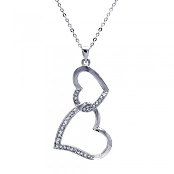 Sterling Silver Clear CZ Rhodium Plated Double Heart Pendant Necklace bgp00025
