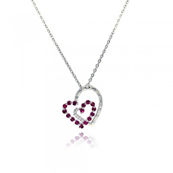 Sterling Silver Red CZ Rhodium Plated Double Heart Pendant Necklace bgp00028