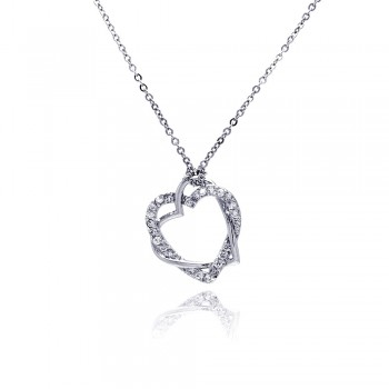 Sterling Silver Clear CZ Rhodium Plated braided heart Pendant Necklace bgp00029
