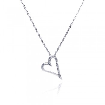 Sterling Silver Clear CZ Rhodium Plated Open Heart Pendant Necklace bgp00033