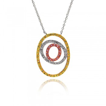 Sterling Silver Rhodium Plated Open Double Circle Multicolor CZ Necklace bgp00043
