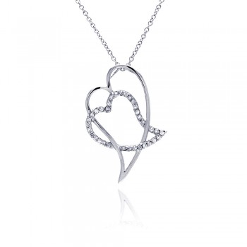 Sterling Silver Clear CZ Rhodium Plated Double Heart Pendant Necklace bgp00047