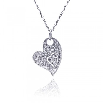 Sterling Silver Clear CZ Rhodium Plated Heart Pendant Necklace bgp00048