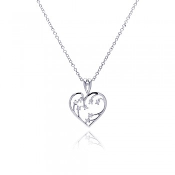 Sterling Silver Clear CZ Rhodium Plated Heart Pendant Necklace bgp00049