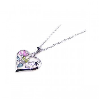 Sterling Silver Multi Color CZ Rhodium Plated Love Heart Pendant Necklace bgp00050