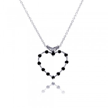 Sterling Silver Black CZ Rhodium Plated Heart Pendant Necklace bgp00055