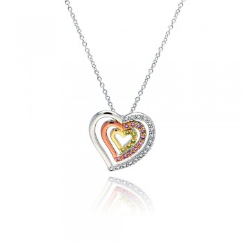 Sterling Silver clear PInk Yellow CZ Gold Rose Gold & Rhodium Plated 3 Graduated Heart Pendant Necklace bgp00056