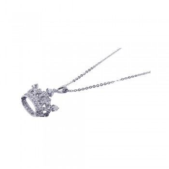 Sterling Silver Clear CZ Rhodium Plated Crown Pendant Necklace bgp00058