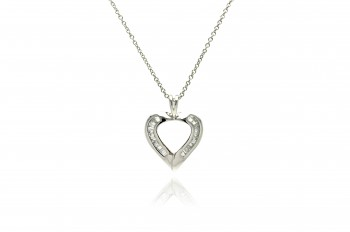 Sterling Silver Clear Baguette CZ Rhodium Plated Heart Pendant Necklace bgp00064.