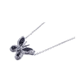 Sterling Silver Black Clear CZ Rhodium Plated Butterfly Pendant Necklace bgp00065