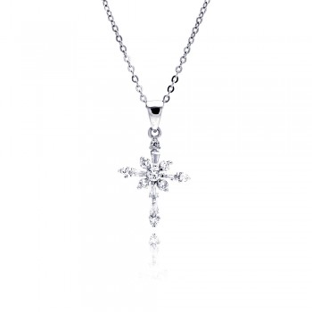 Sterling Silver Clear CZ Rhodium Plated Cross Pendant Necklace bgp00066