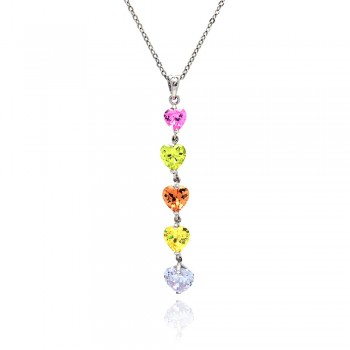 Sterling Silver Multi Color CZ Rhodium Plated 5 Heart Pendant Necklace bgp00068