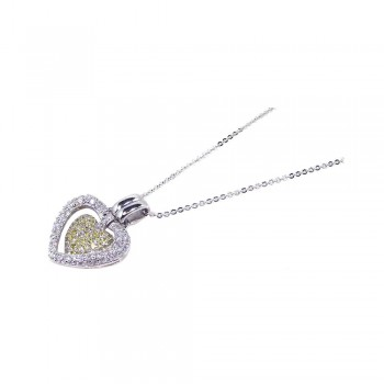 Sterling Silver Clear Yellow CZ Rhodium Plated Double Heart Pendant Necklace bgp00070