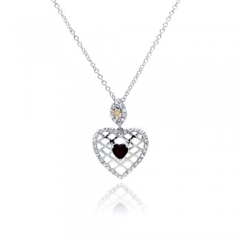 Sterling Silver Red CZ Rhodium Plated Filigree Heart Pendant Necklace bgp00072