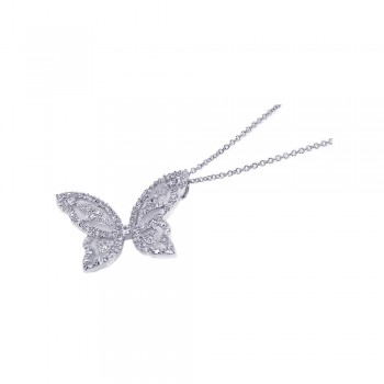 Sterling Silver Clear CZ Rhodium Plated Butterfly Pendant Necklace bgp00084