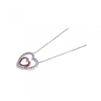 Sterling Silver Clear CZ Rhodium & Rose Gold Plated Heart Pendant Necklace bgp00087