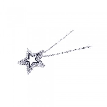 Sterling Silver Clear CZ Rhodium Plated Star Pendant Necklace bgp00089