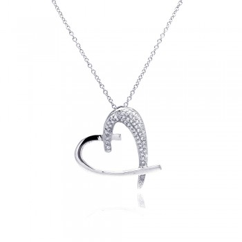 Sterling Silver Clear CZ Rhodium Plated Heart Pendant Necklace bgp00096