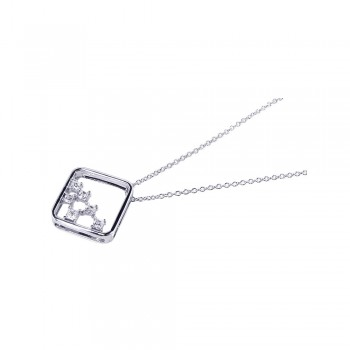 Sterling Silver Clear CZ Rhodium Plated octagon Pendant Necklace bgp00099