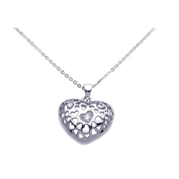 Sterling Silver Clear CZ Rhodium Plated Heart Pendant Necklace bgp00100